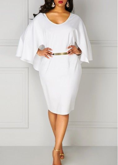 Plus Batwing Sleeve V Neck White Cloak Dress in 2019 ...
