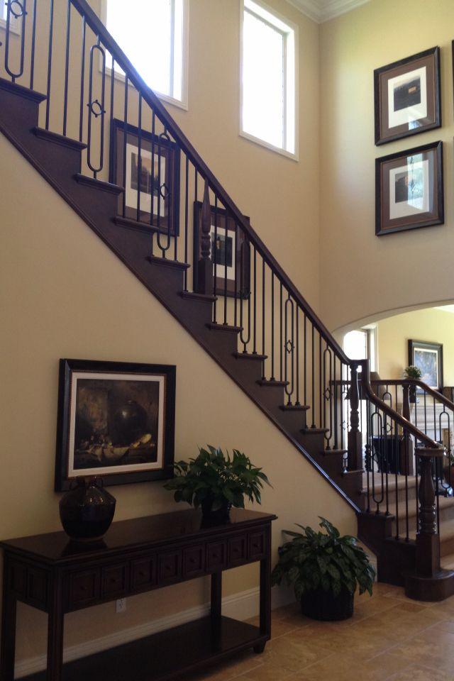 Best Dark Wood Stair Rails Master Bath Remodel Stairs Wood Stairs 640 x 480