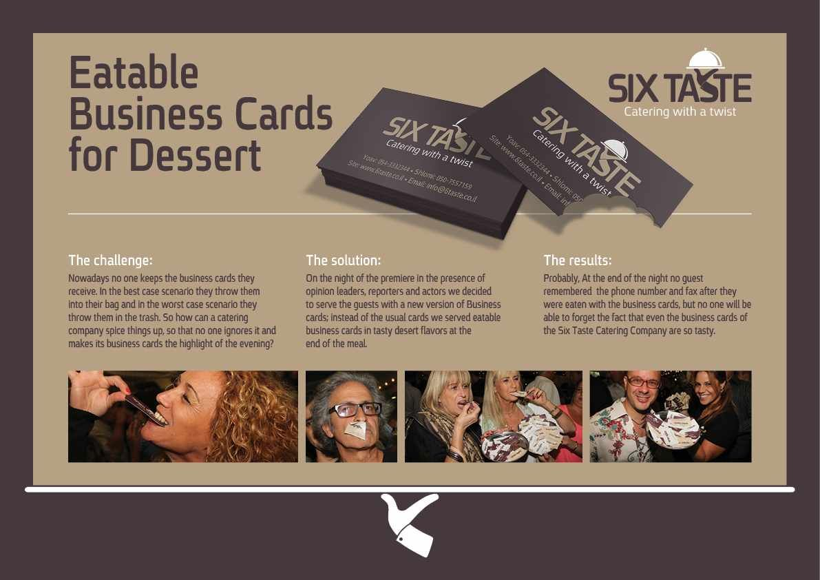 Catering company six tastes edible business cards we question catering company six tastes edible business cards we question the efficacy of this approach reheart Image collections
