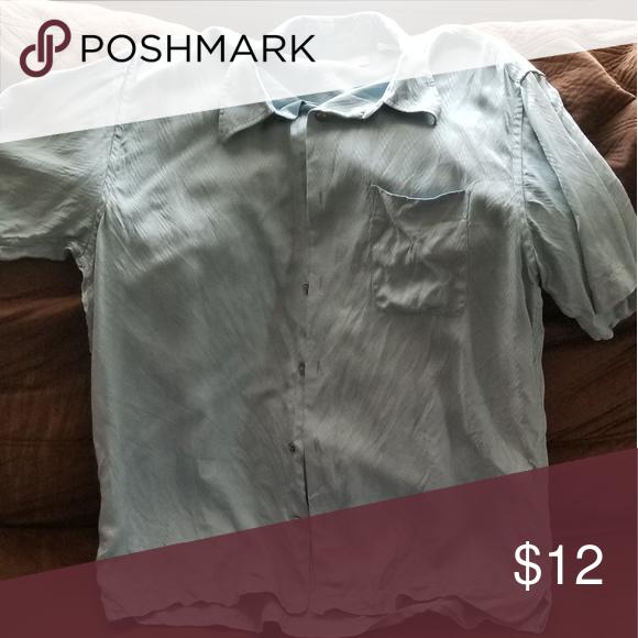Mens Large Perry Ellis Blue 100 Silk Shirt Shirts Silk Shirt Clothes Design
