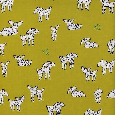 Clover Little Lambs Green Cotton & Steel By the yard Alexia Abegg