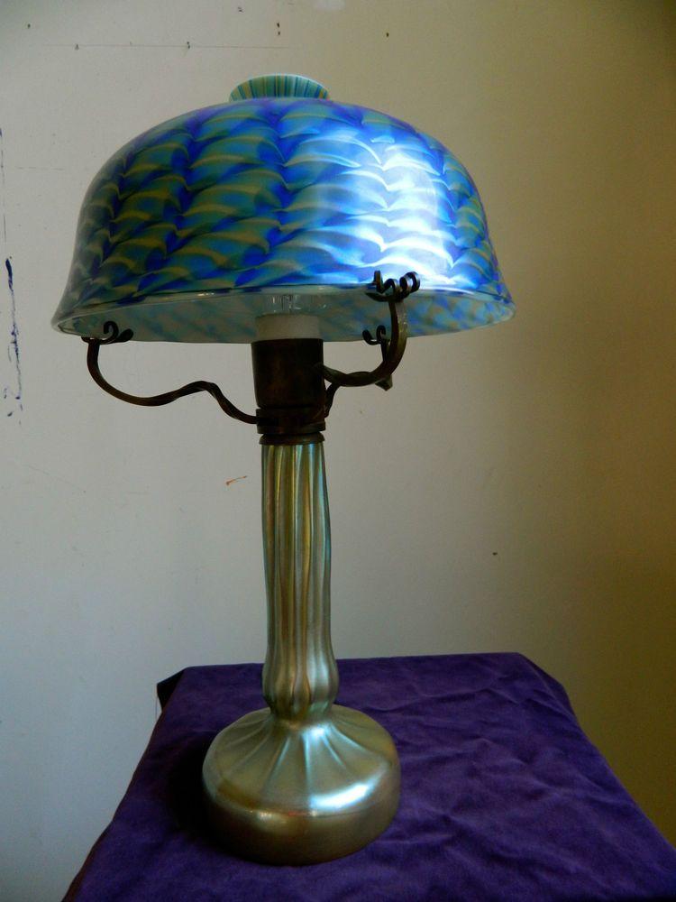 Vintage Stephen Lundberg Favrille Art Glass Lamp 1981  MUSEUM QUALITY!!!