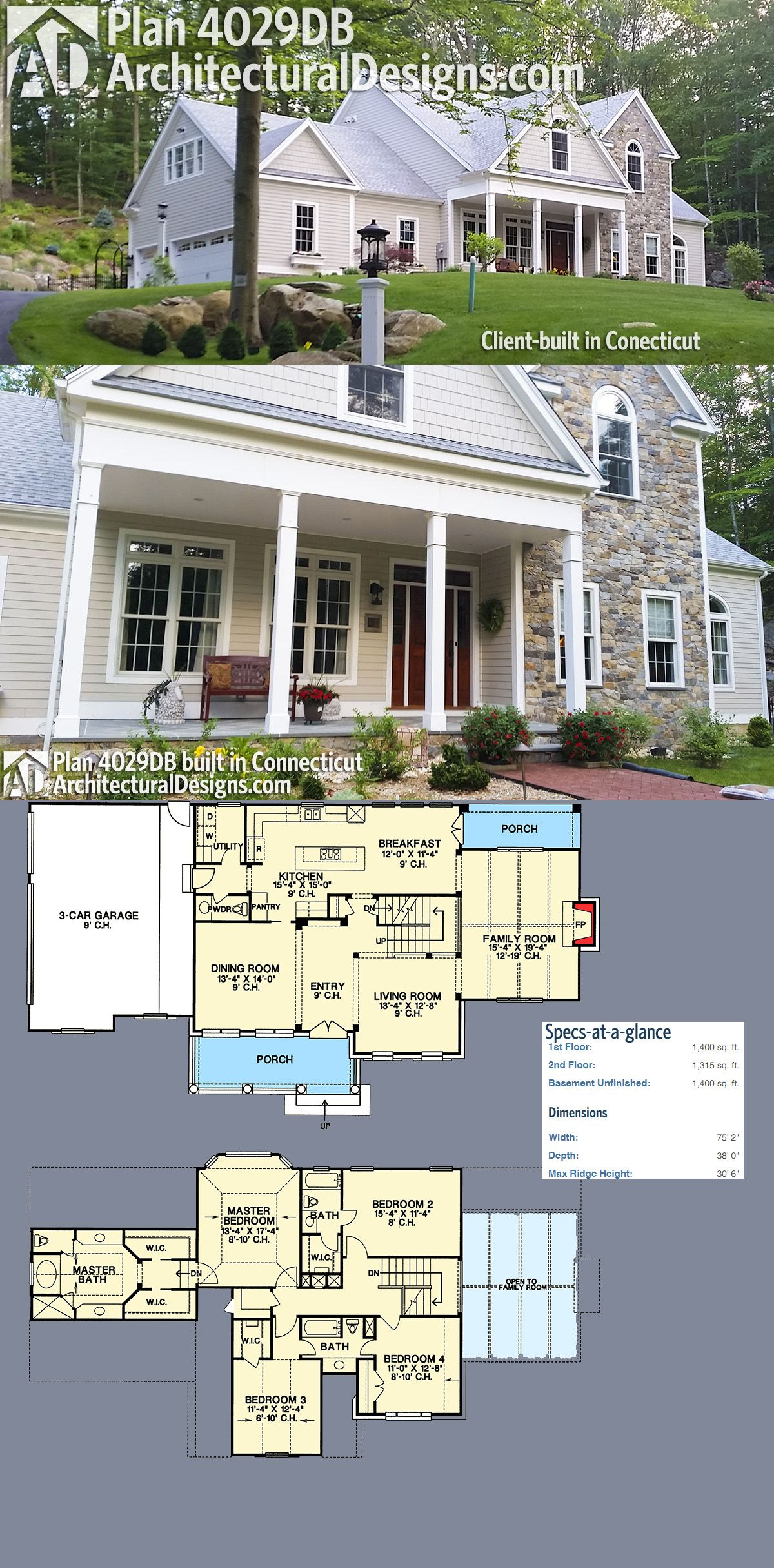 Plan 4029db Traditional Home Plan With Magnificent Vaulted Family Room Traditional House Plans Architectural Design House Plans House Plans