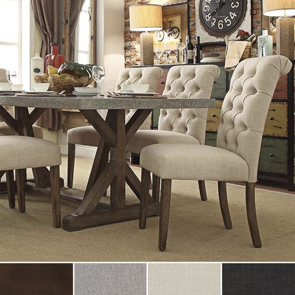 Dining Chairs Deals: Benchwright Button Tufts Upholstered Rolled Back Parsons
