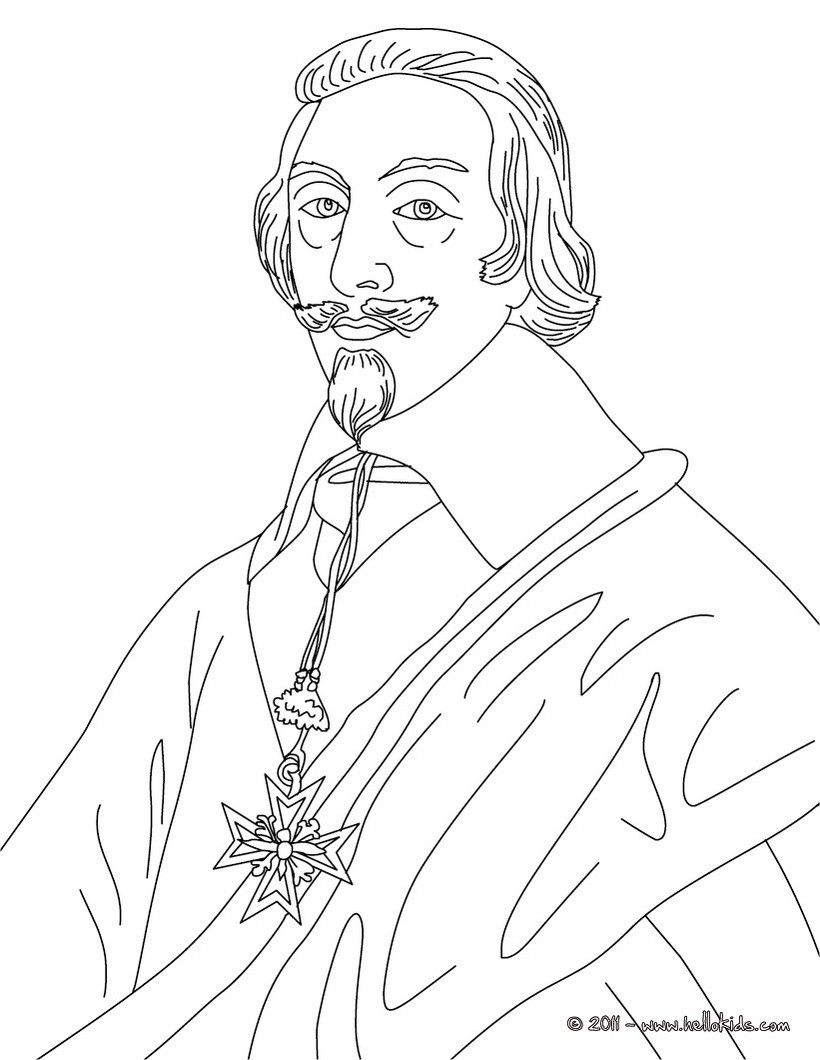 CARDINAL DUKE OF RICHELIEU coloring page | History coloring sheets ...