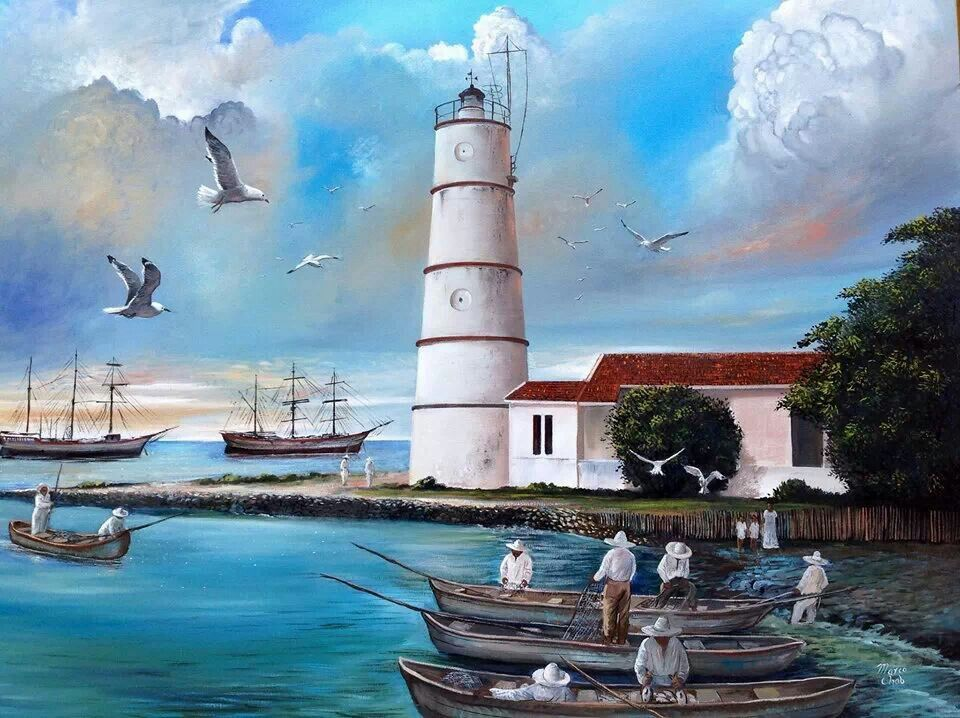El Faro De La Atalaya Oleo Marinas Pintura Pintar En Oleo Faro