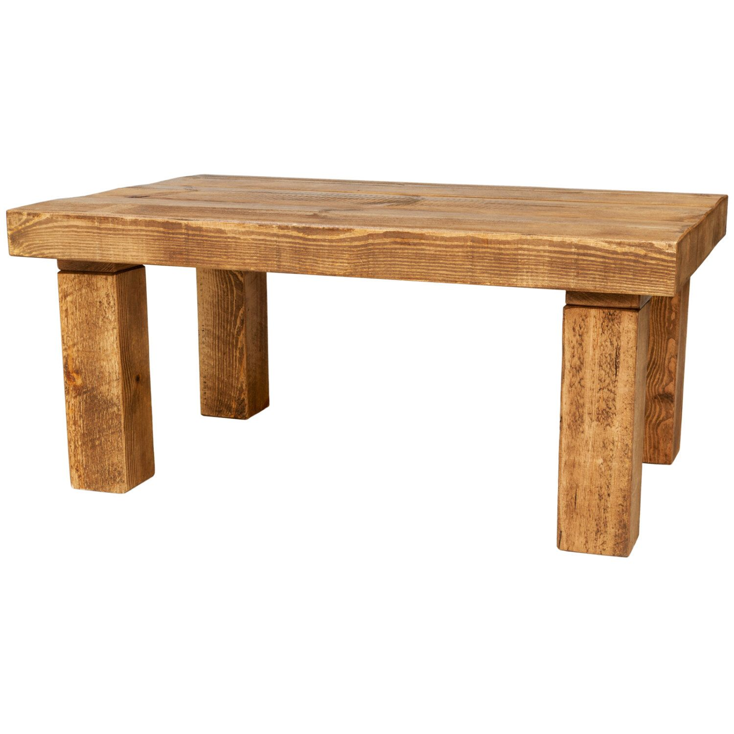Handmade Chunky Wooden Coffee Table With A Choice Of Different Rustic Wax Finish Colours And Sizes 3 Inch Top 4 Leg Coffee Table Wood Solid Wood Coffee Table Wooden Coffee Table