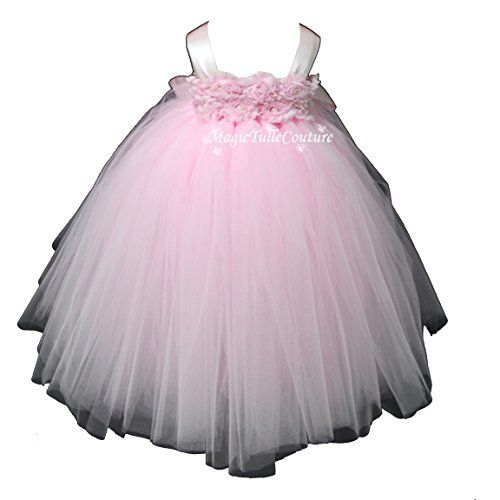 3487bc5a9 Baby Girls Puffy Flower Girl Tutu Dresses 2 Rows 3D Rose Flowers ...