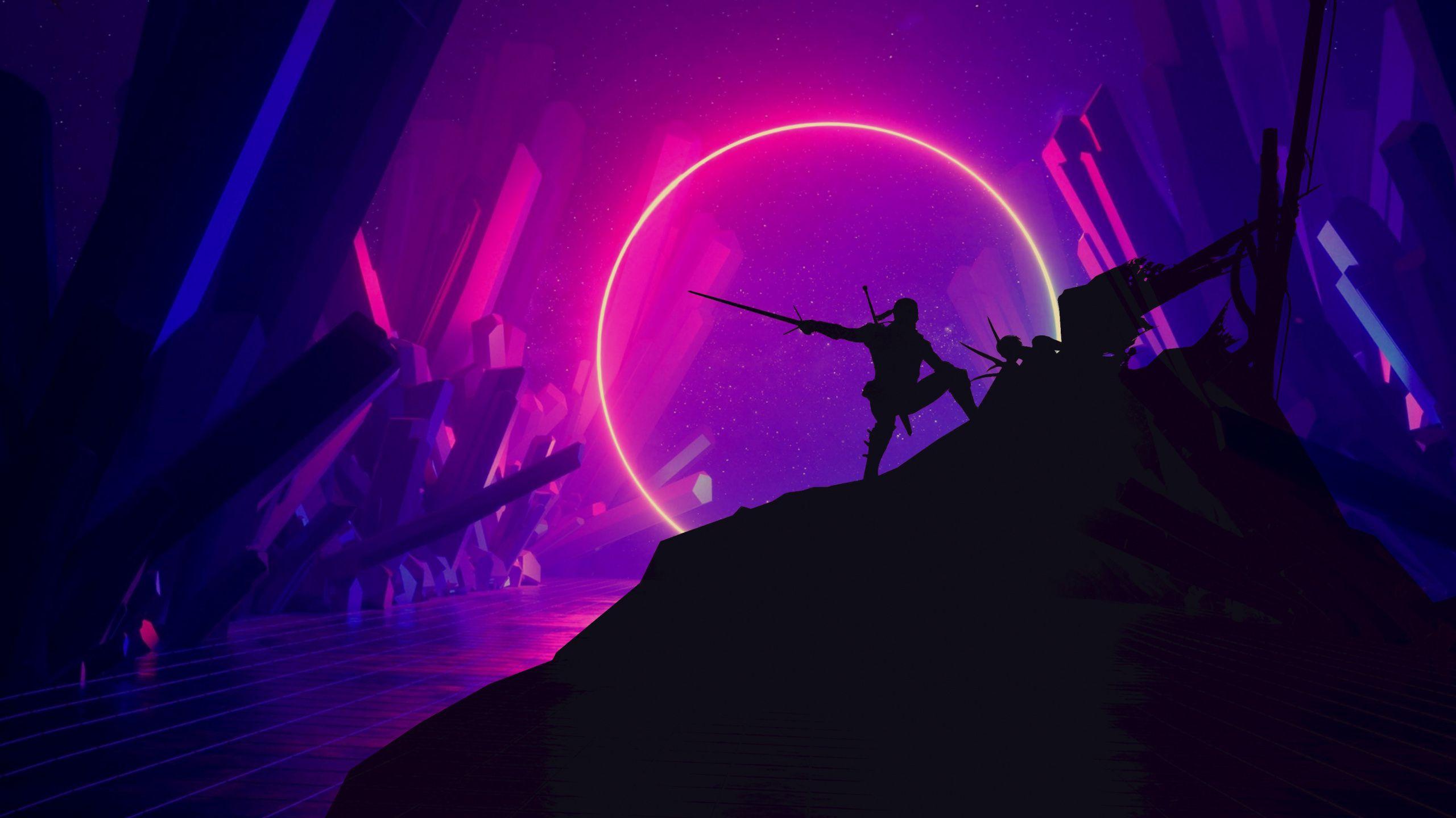 2560x1440 Warrior The Witcher Silhouette Art Wallpaper Gaming Wallpapers Hd The Witcher Art Wallpaper