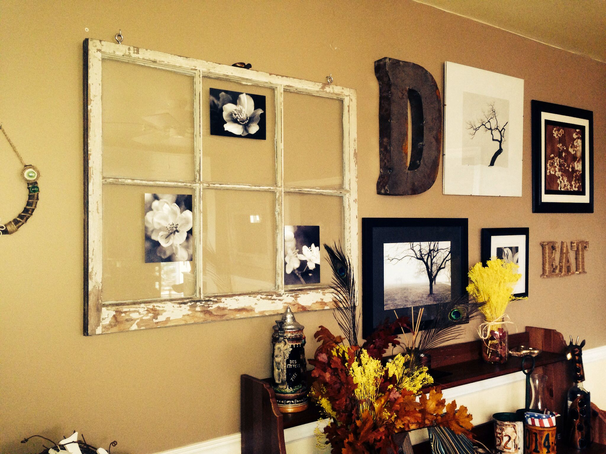 Wall collage. Old window, trees, metal, horseshoe | Dining ...