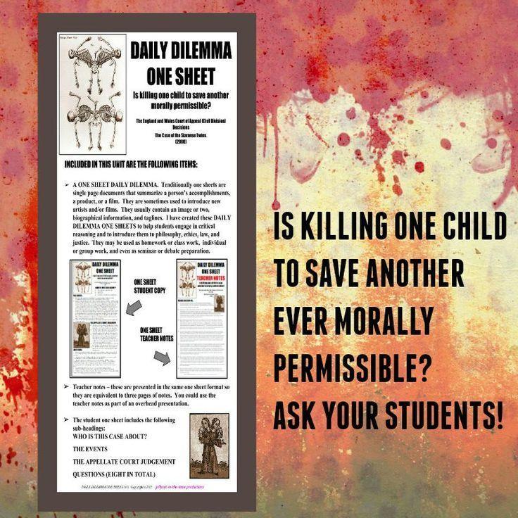 Critical Thinking Dilemma One Sheet Law History