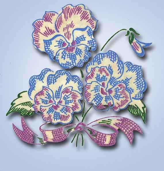 1950s ORIGINAL Charming Uncut Vogart Textilprint Pansy Transfer 436