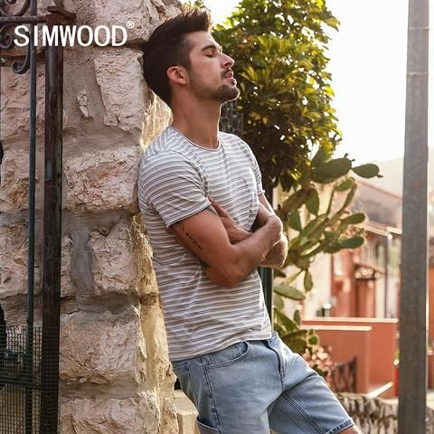 c14710e9354 SIMWOOD 2018 Summer New Striped T Shirt Men Slim Fit 100% Cotton High  Quality Plus