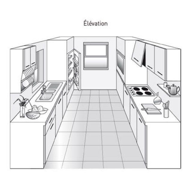 Plan de cuisine en parall le plan de cuisine marie for Amenagement cuisine parallele