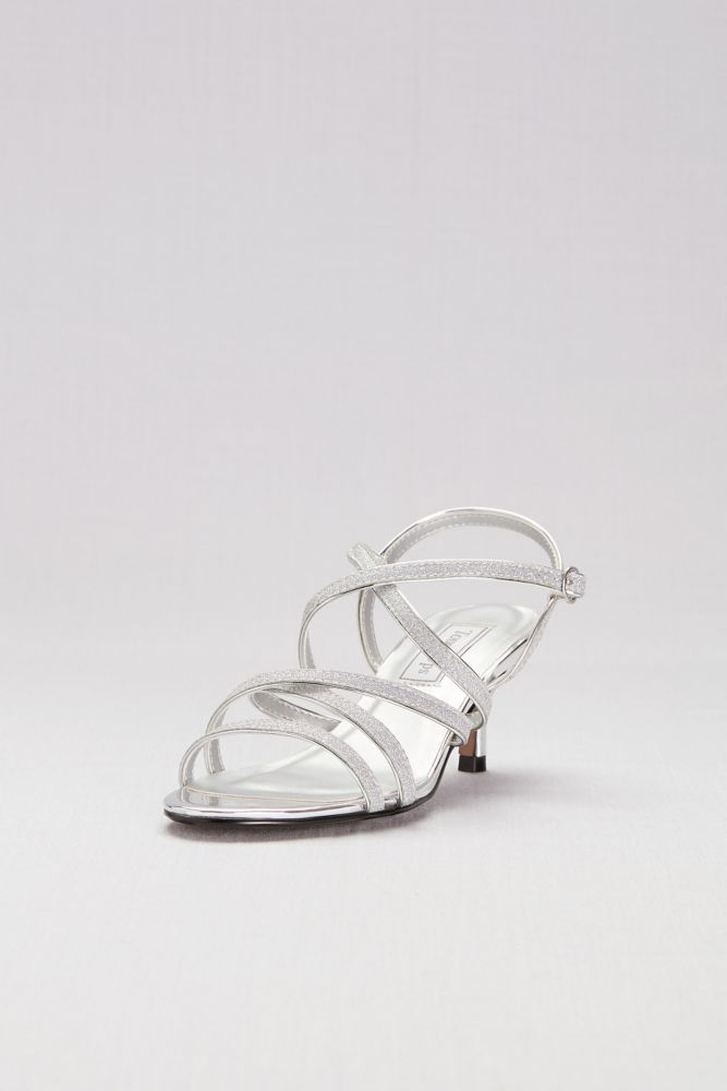 8d70365622 Strappy Crisscross Low Metallic Heels Style EMERY, Silver, 5.5 in ...