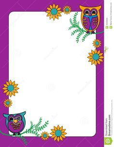 Owl Frame Google Search Writing Paper Letter Paper Clip Art Borders