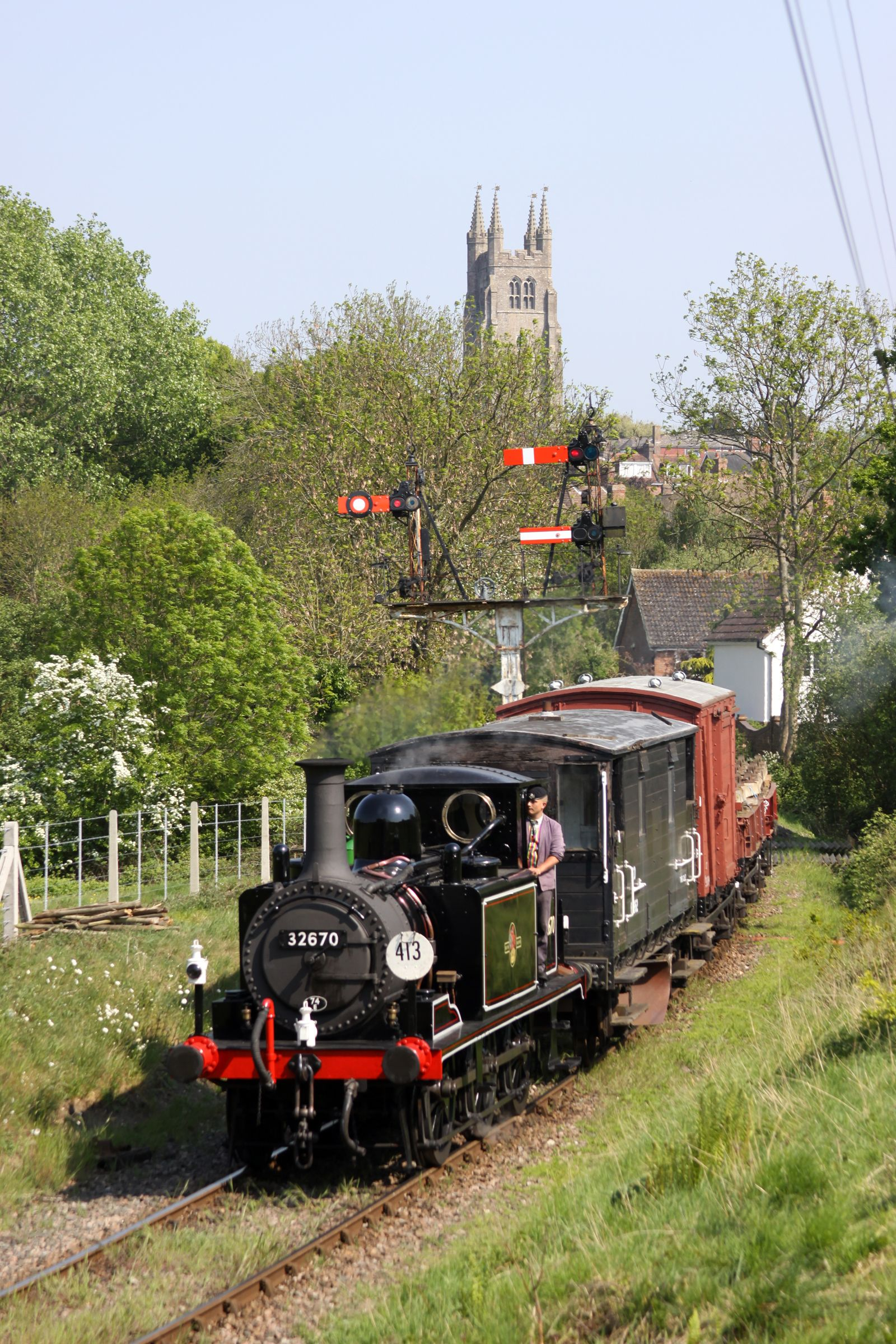 The Kent and East Sussex Railway leaving from Tenterden in Kent, England