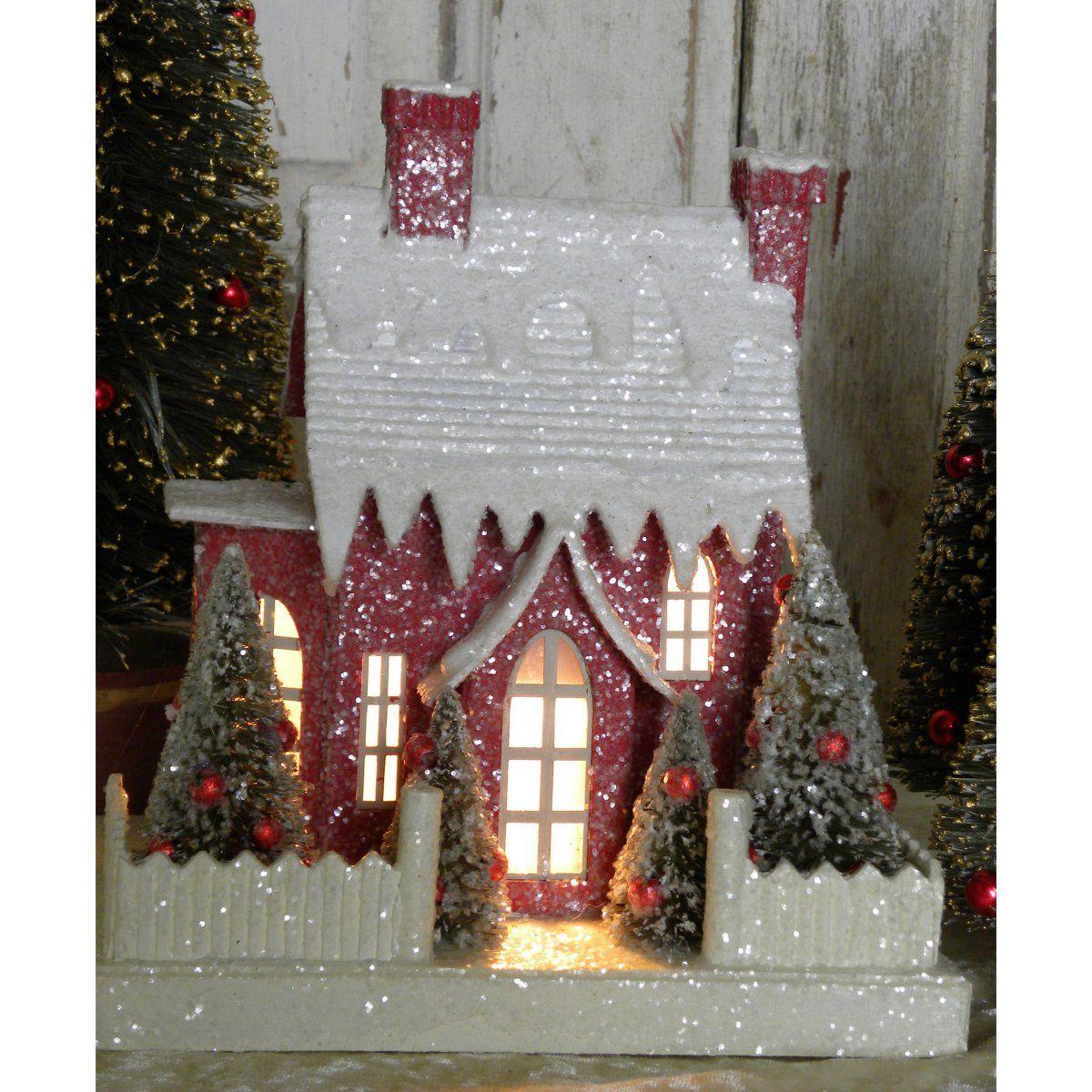 Kd vintage christmas woodland cottage navidad for Villas navidenas de porcelana