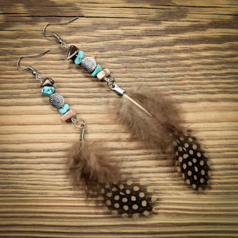 boucle d'oreille style bohème turquoise et marron : Boucles d'oreille par gg-naturaboutik