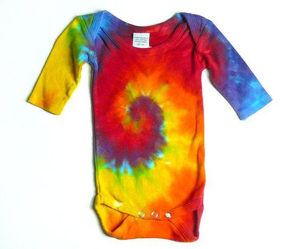 82a3ebd9c902b Tie Dye Baby Body Suit, Long Sleeve, Rainbow Spiral, Eco-Friendly ...