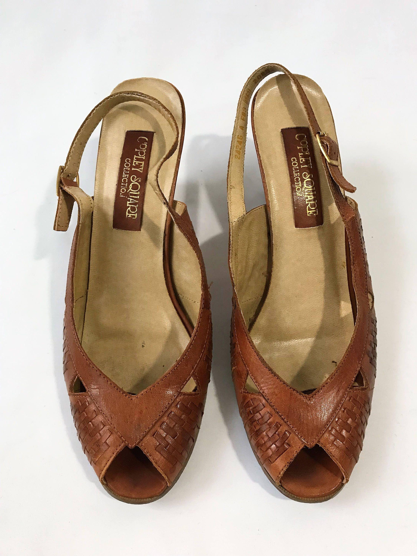b980a0ef79257 True Vintage Leather Peep Toe Slingback Pumps with Wood Heel ...