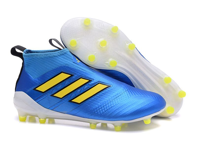 best website 2ca32 f3679 New 2017 adidas ACE Purecontrol Laceless FG Cleat (Blue Yellow)