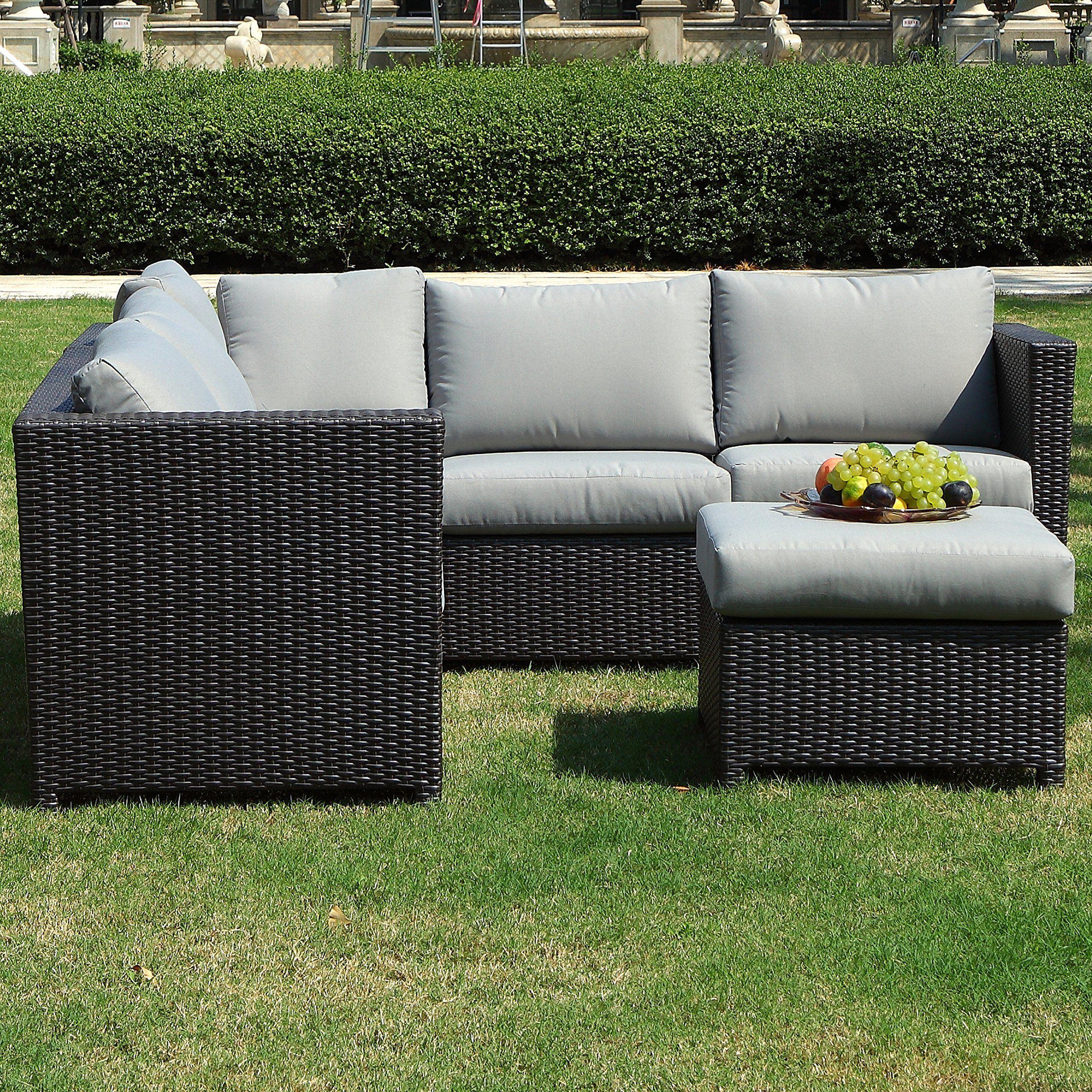 Secortile 3pc Patio Sectional Rattan Sofa Set Outdoor Garden