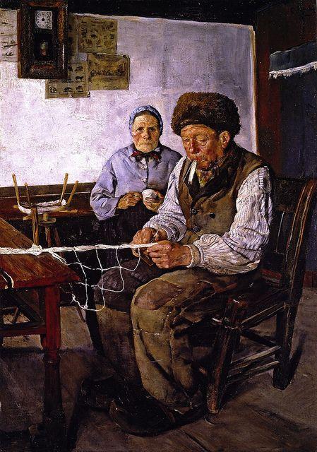Christian Krohg The Net Mender Skagen Malerier Tegninger Og Fotografi