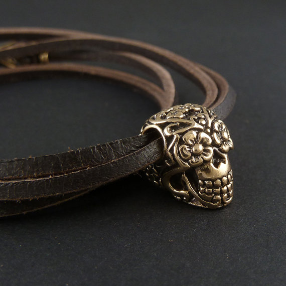 Sugar Skull Bracelet Bronze Sugar Skull on Leather by LostApostle