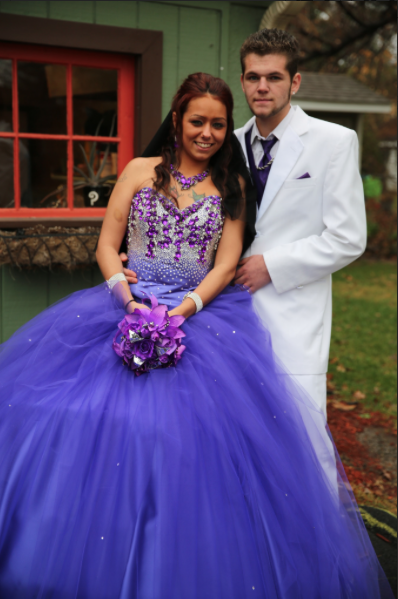 8546fcc02c35 Gypsy bride, Melissa, looks beautiful in her tanzanite purple tulle gown by Sondra  Celli that's been blinged out with 14,000 clear and amethyst chunky ...