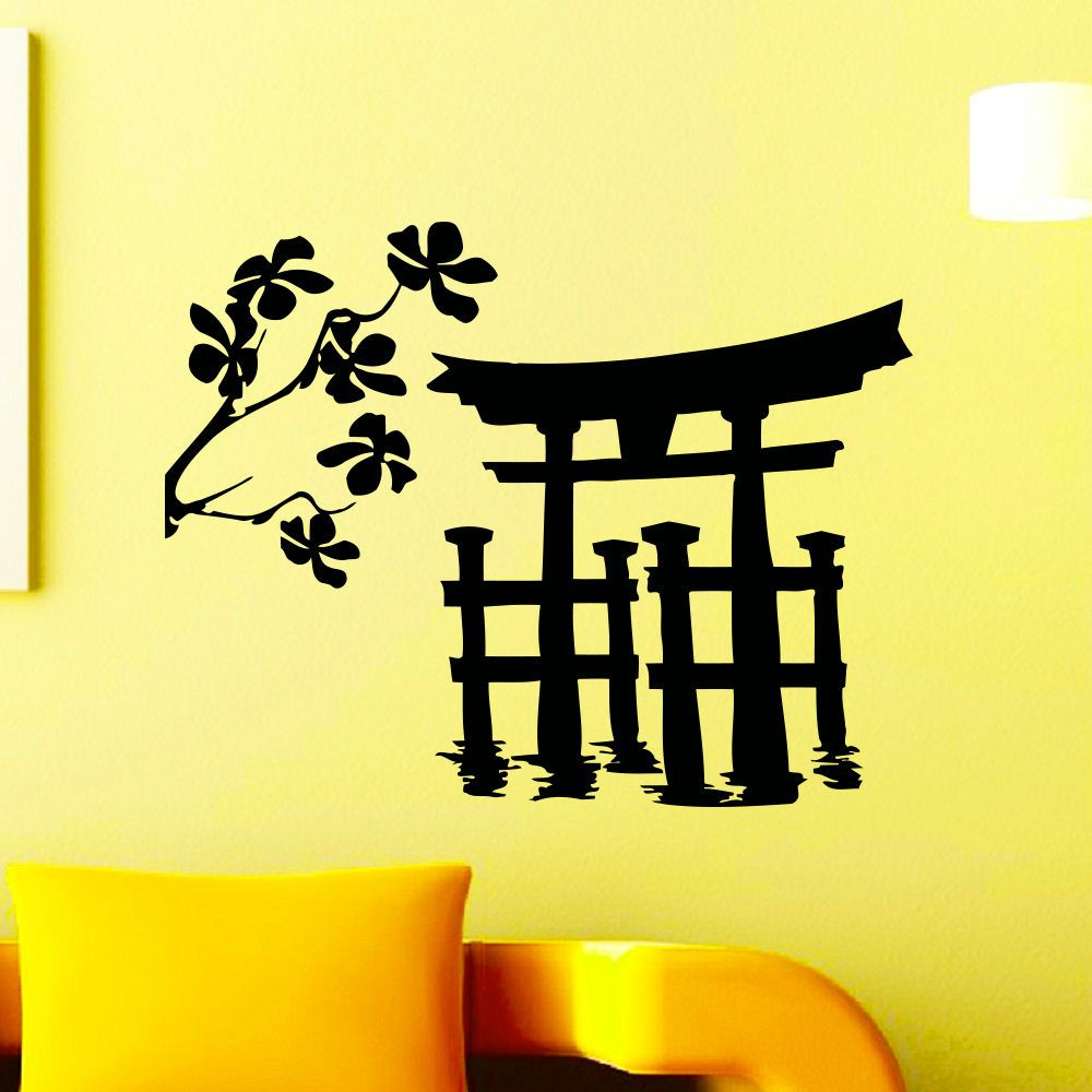 Wall Vinyl Decals Japanese Tori Gate Silhouette Decal Home Decor ...