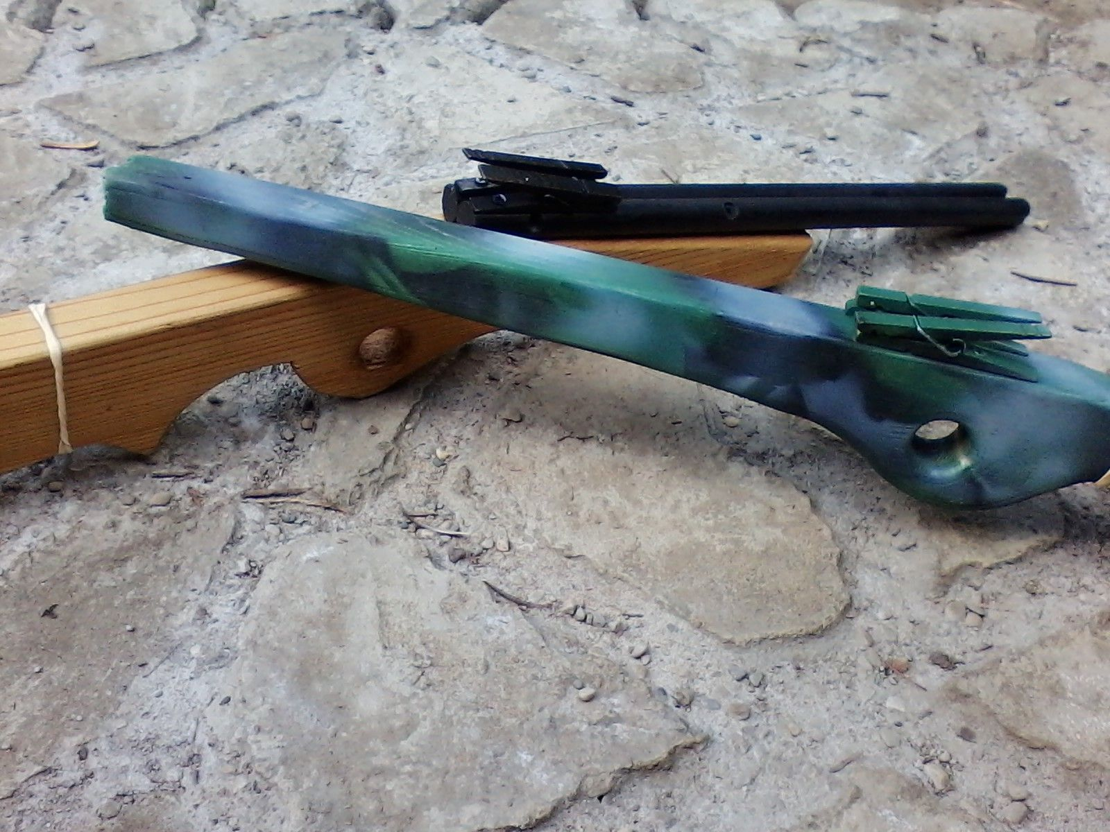rubber band double barrel shotgun and double shot rubber band gun for hunting themed birthday party