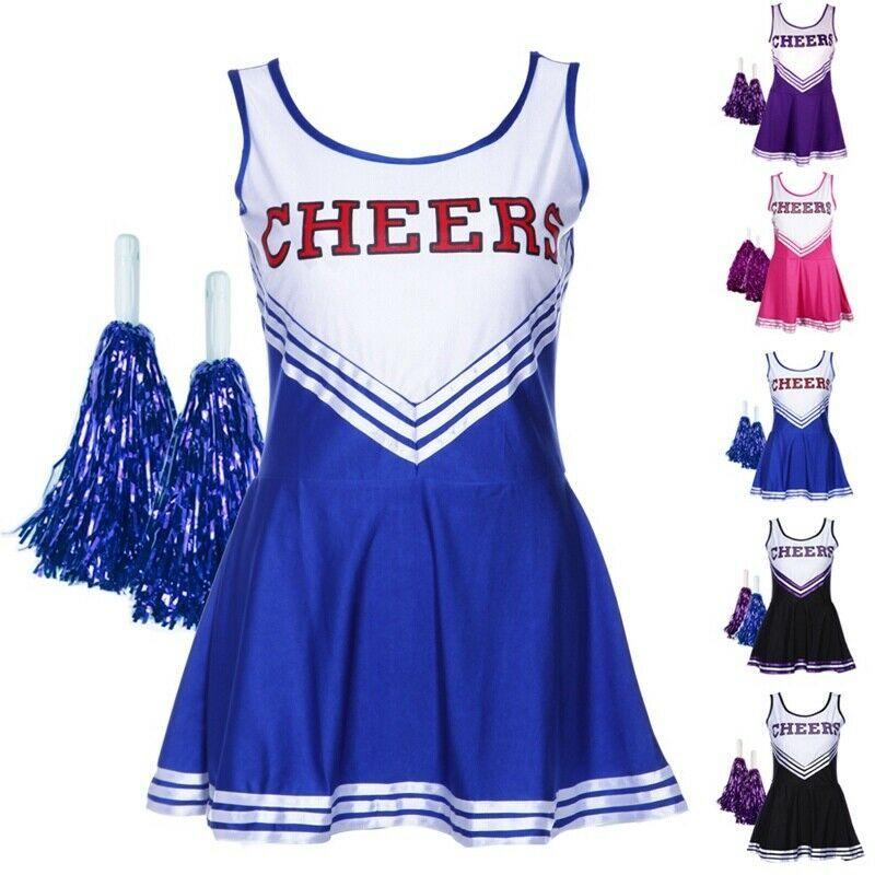 Cheerleader Fancy Dress Costumes Womens Ladies Hig School Prom Uniform Pom Poms
