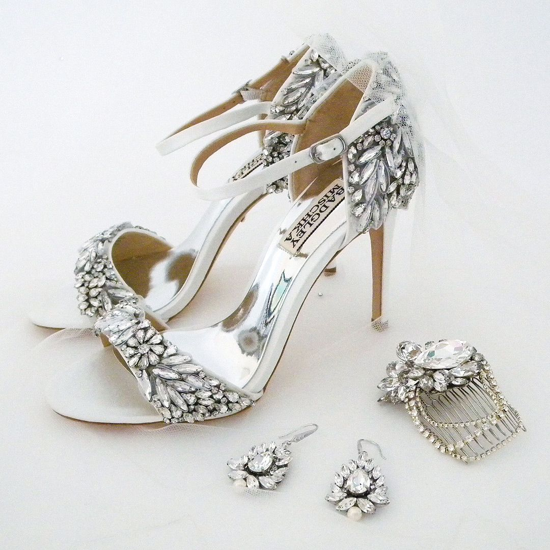 Glam It Up Wedding Shoes Tampa Sparkly Bridal Sandals By Badgley Mischka Bridal Jewelry Earrings By Cher Bridal Sandals Designer Wedding Shoes Wedding Shoe