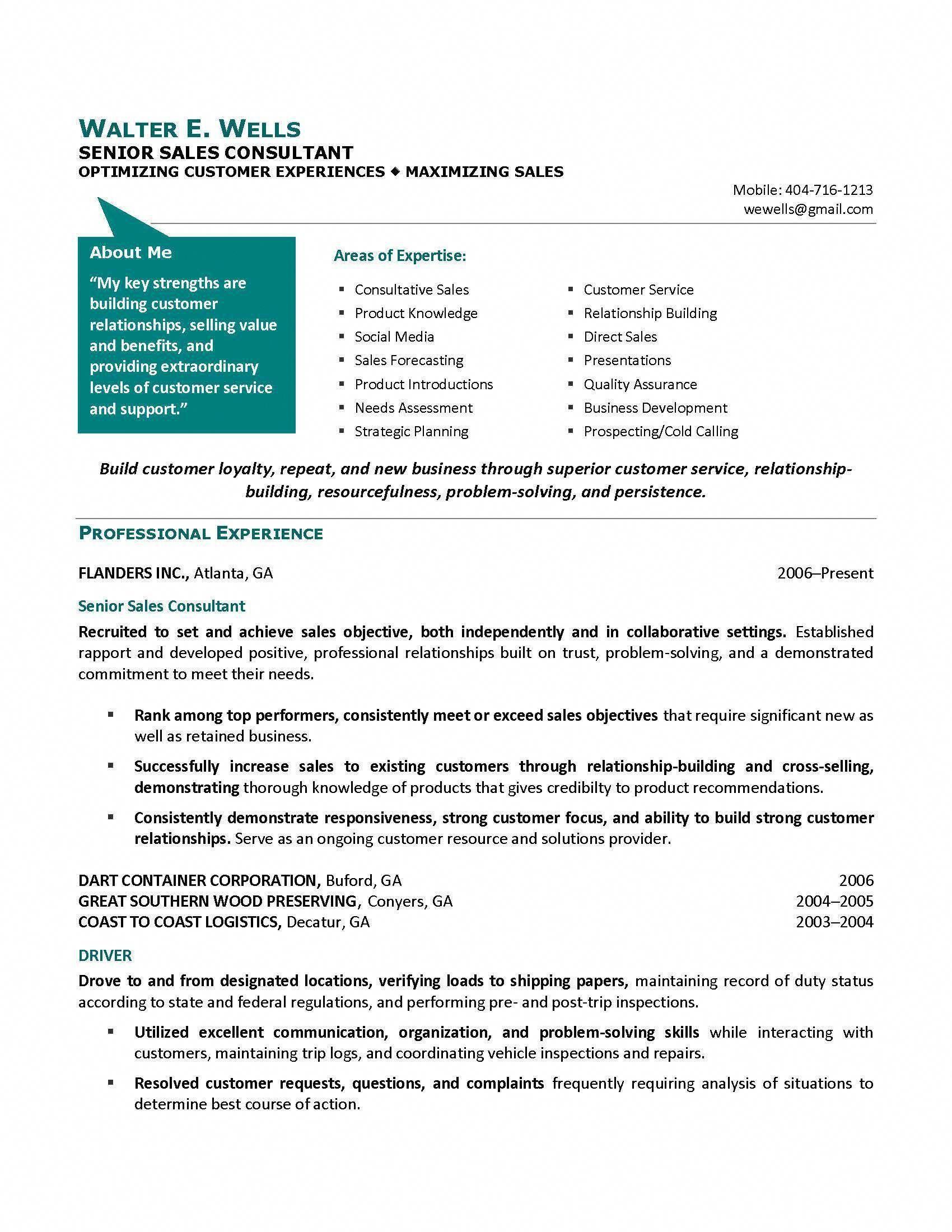 senior sales consultant resume sample, provided by Elite Resume ...