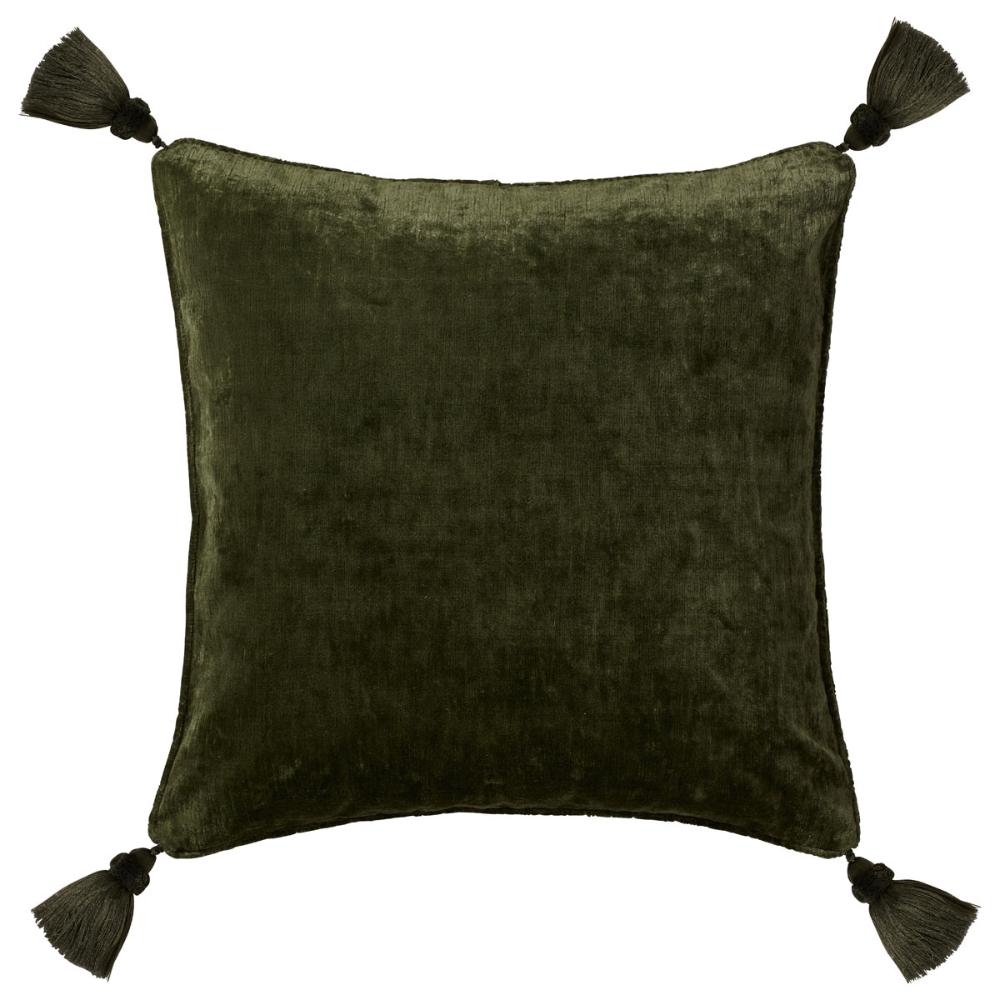 Grey Velvet Pillow Cover With Tassels