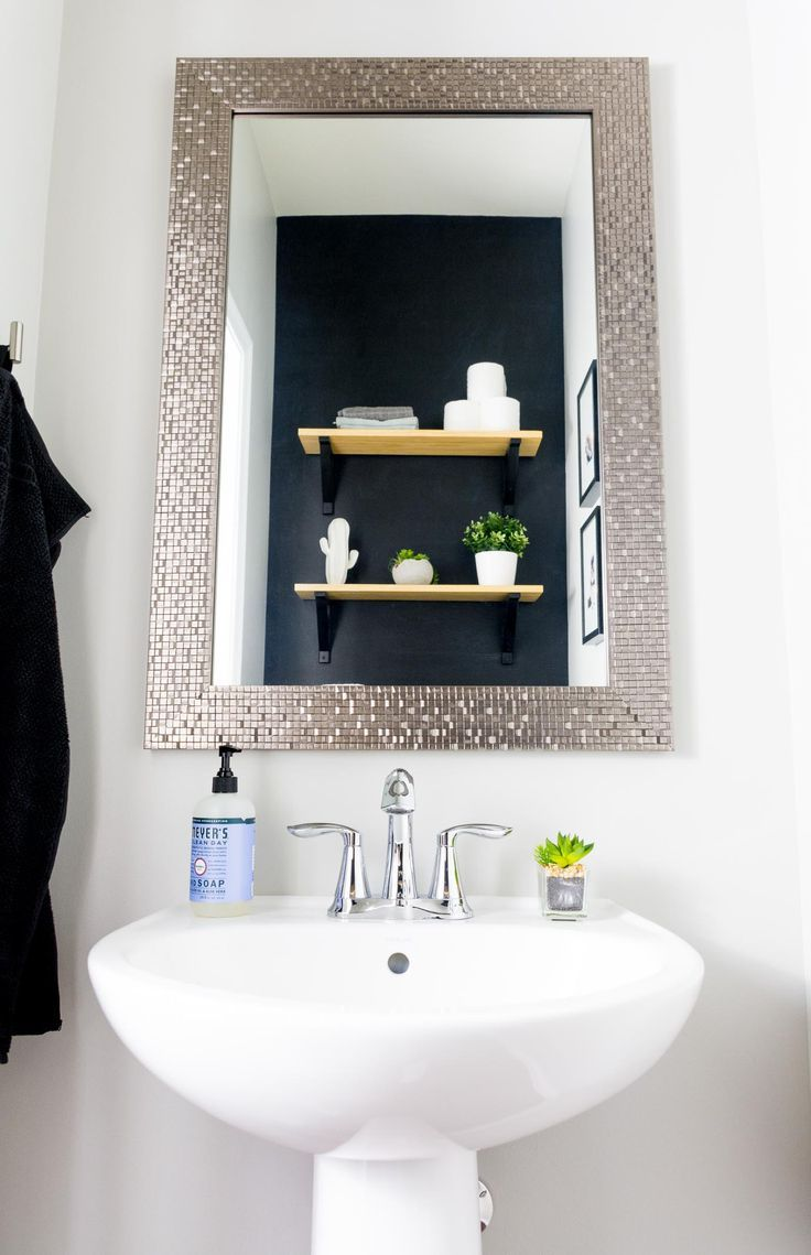 Powder Room Update #4: Modern Powder Room Makeover on a Budget - #Budget #makeover #Modern #Powder #powderrooms #room #Update #modernpowderrooms