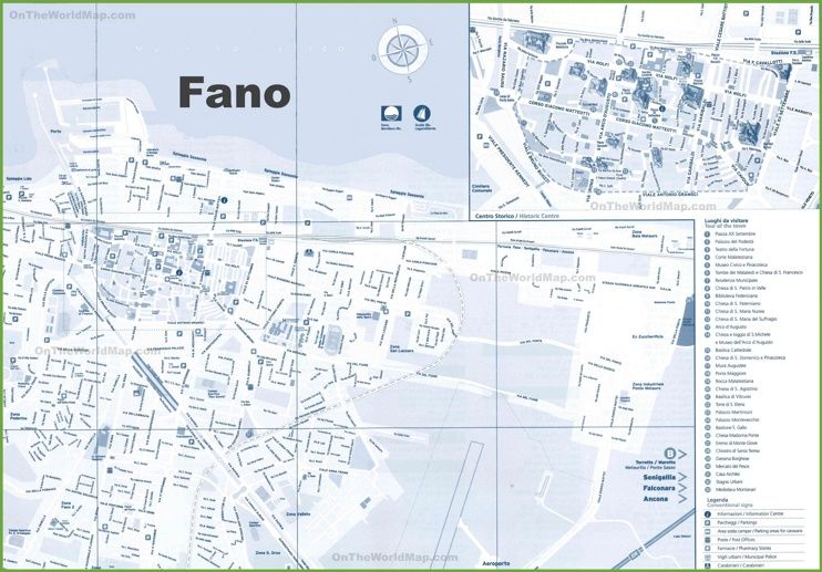 Fano sightseeing map Maps Pinterest Italy and City