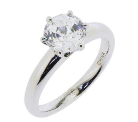 Diamonique 2 00 Cttw 100 Facet Solitaire Ring Platinum Clad J112404 Qvc Com Solitaire Engagement Ring Real Engagement Rings Engagement Rings
