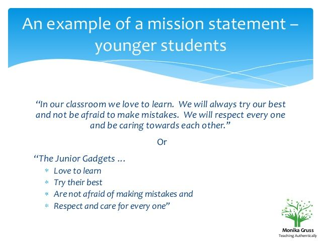 An Example Of A Mission Statement Younger Students In Our
