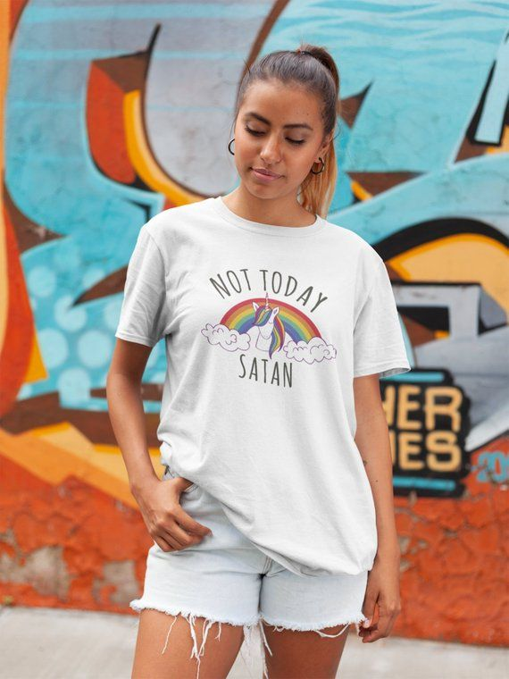 fe06e9aba10c7 Not Today Satan, Unicorn Rainbow Shirt, LGBT Flag, Gays and Lesbians ...