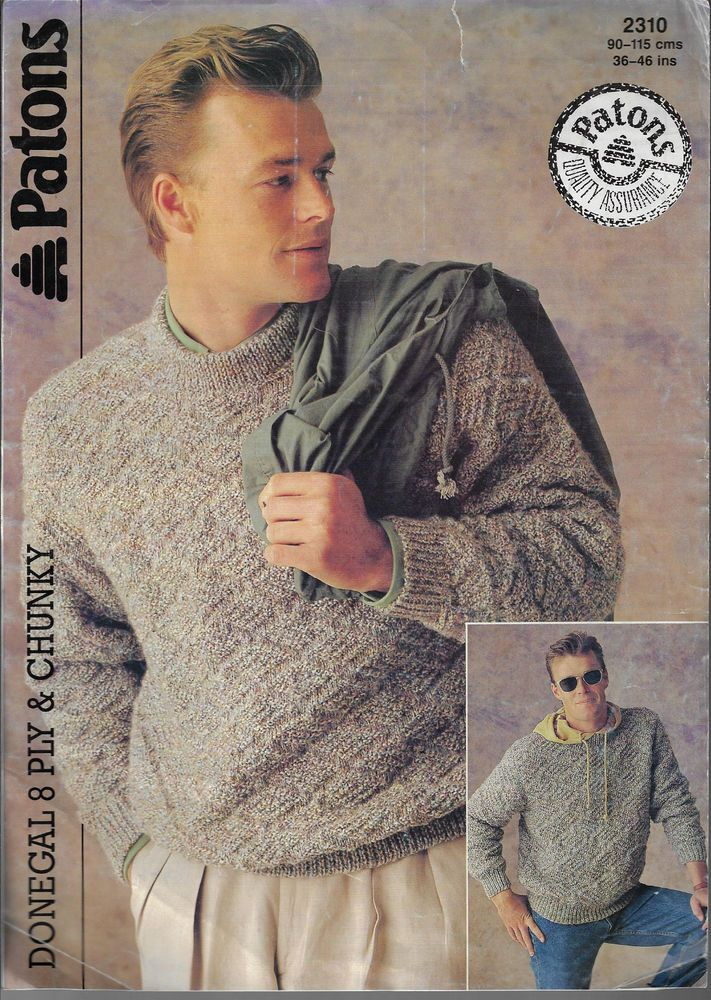 Mens Textured Sweater Patons 2310 Knitting Pattern 8 Ply Chunky