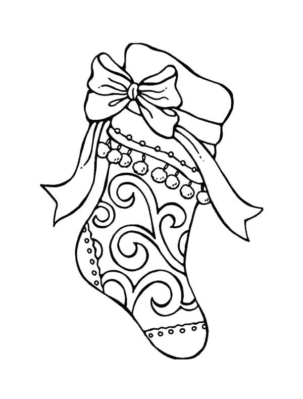 tribal decorated christmas stockings coloring pages - Christmas Stocking Coloring Pages