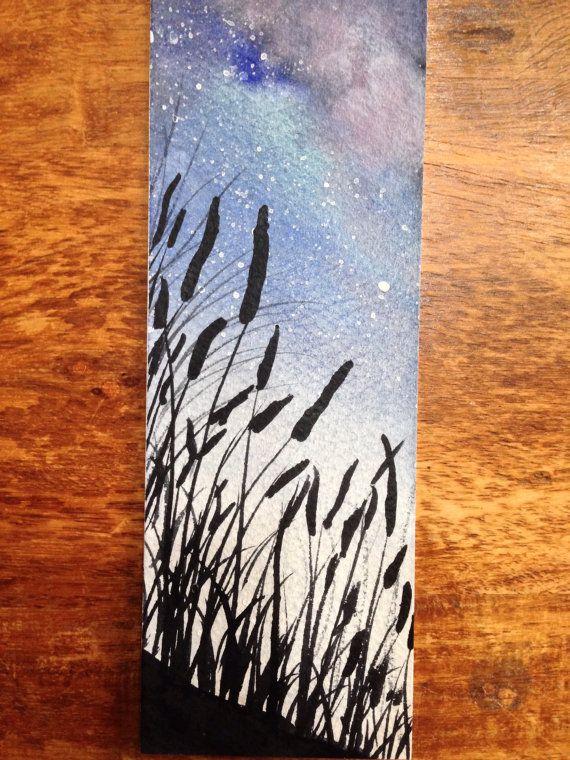 Space Art Bookmark Watercolor Landscape Night Sky By Asmothdaeva