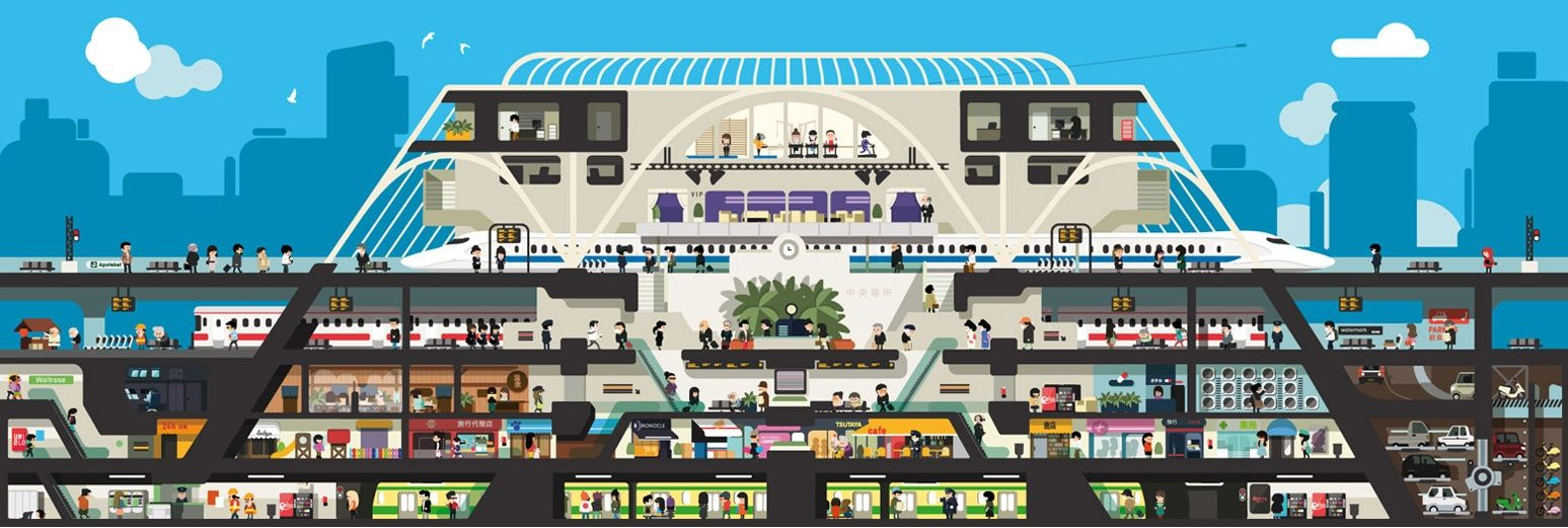 The perfect train station. This 24-hour train station would have everything from landscaped roof terraces to offices for small businesses.