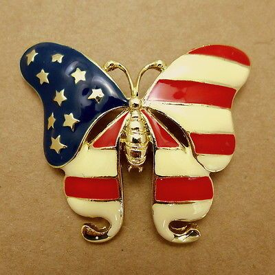 Large American Flag Patriotic Red White Blue Butterfly July 4th USA Brooch. 45dc471a77dd