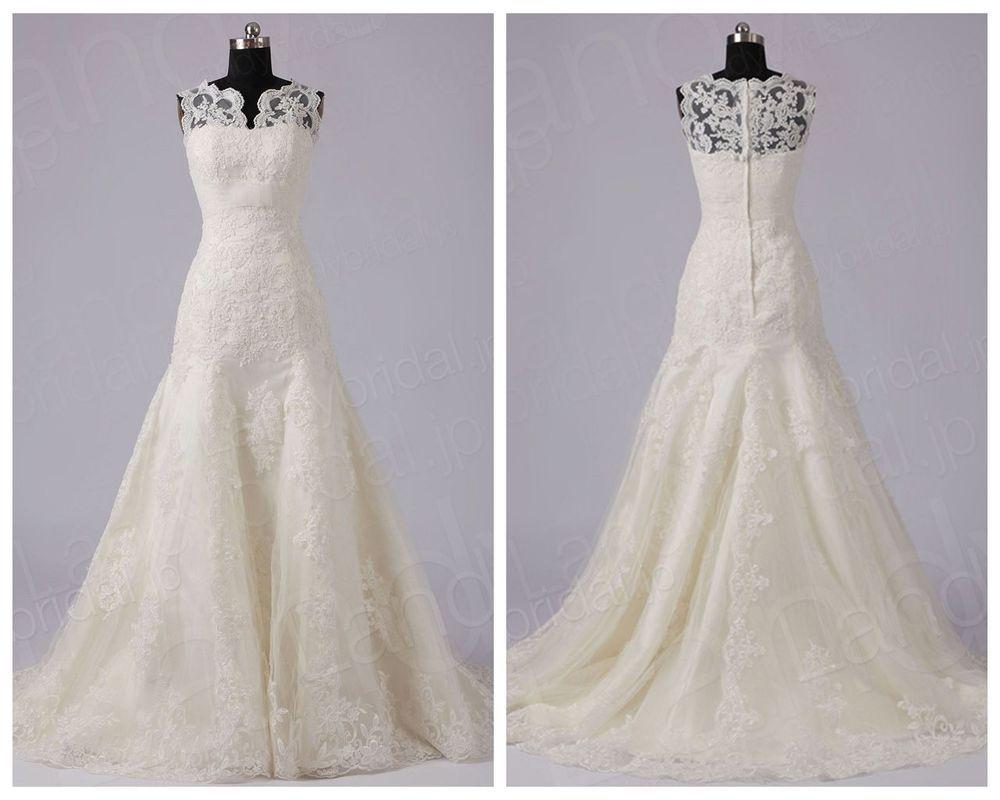 Elegante Brautkleider Hochzeitskleider weiß/creme Spitze 32 34 36 38 ...