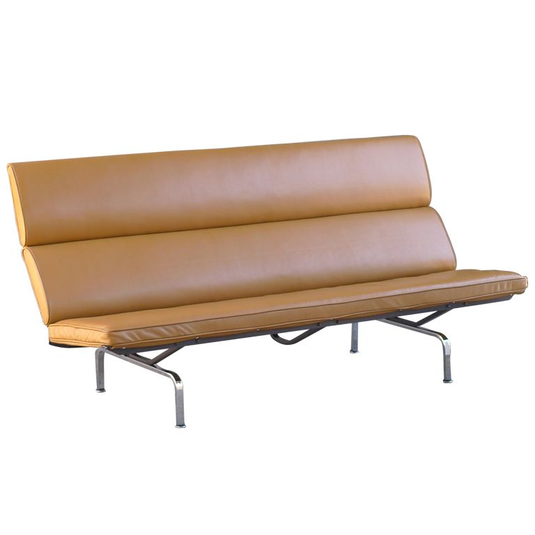 Charles Eames Leather Sofa Compact For Herman Miller 1954