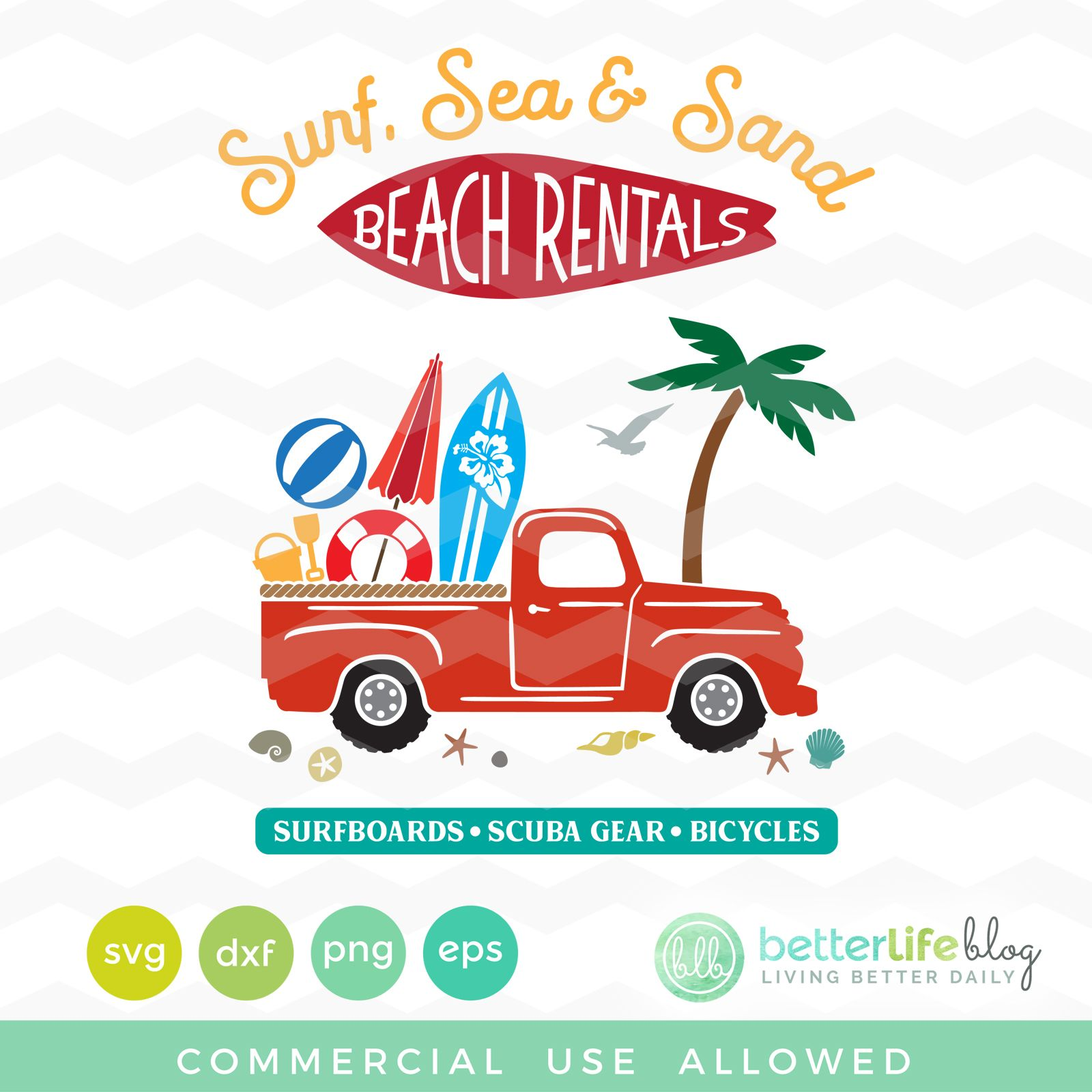 Beach Truck SVG Cricut, Red truck decor, Svg file