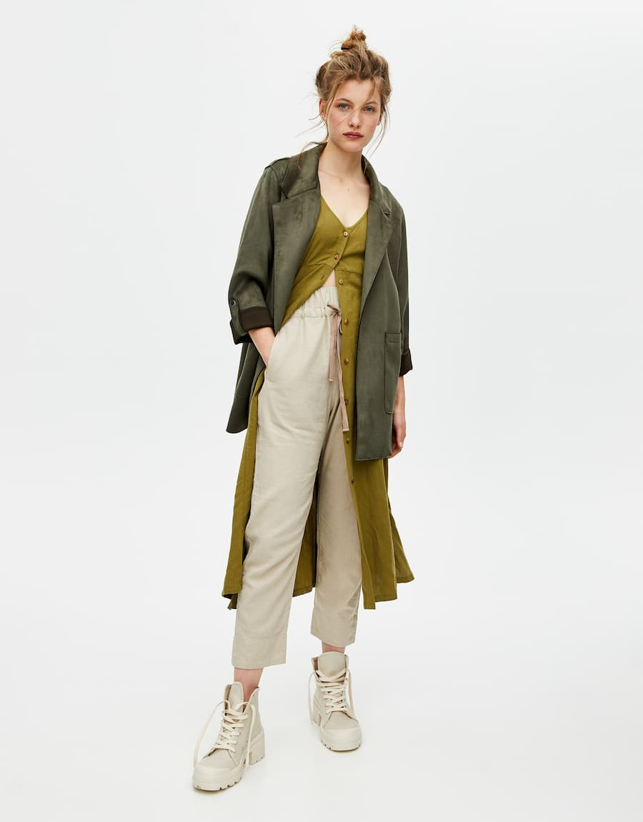 Faux suede kimono with lapel collar pull&bear